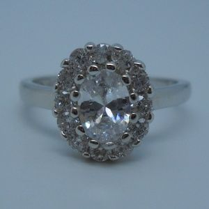 NEW CZ & Sterling Halo Ring